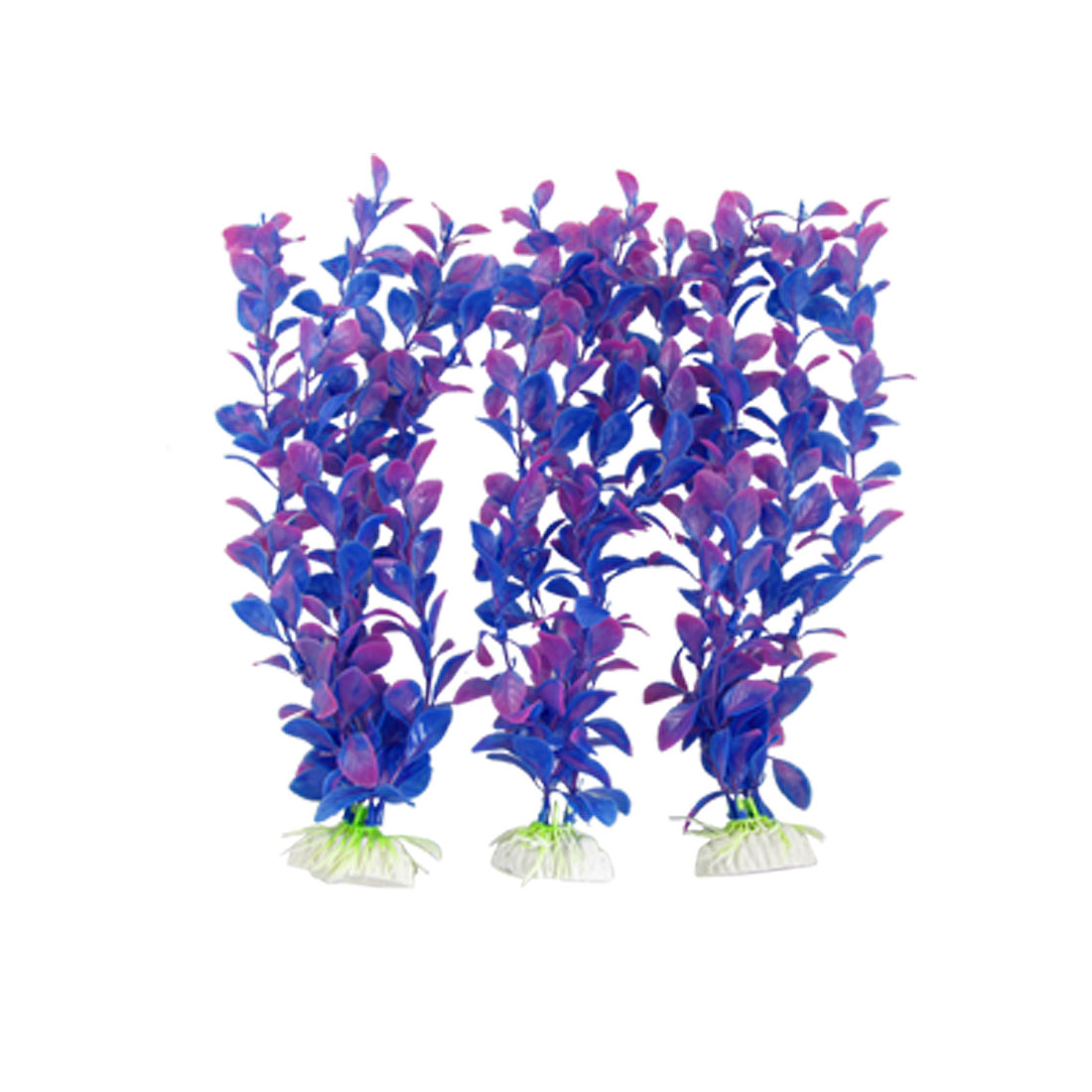 3Pcs Blue Pink Tie-Dye Plastic Bacopa Lanigera Aquarium Ornament
