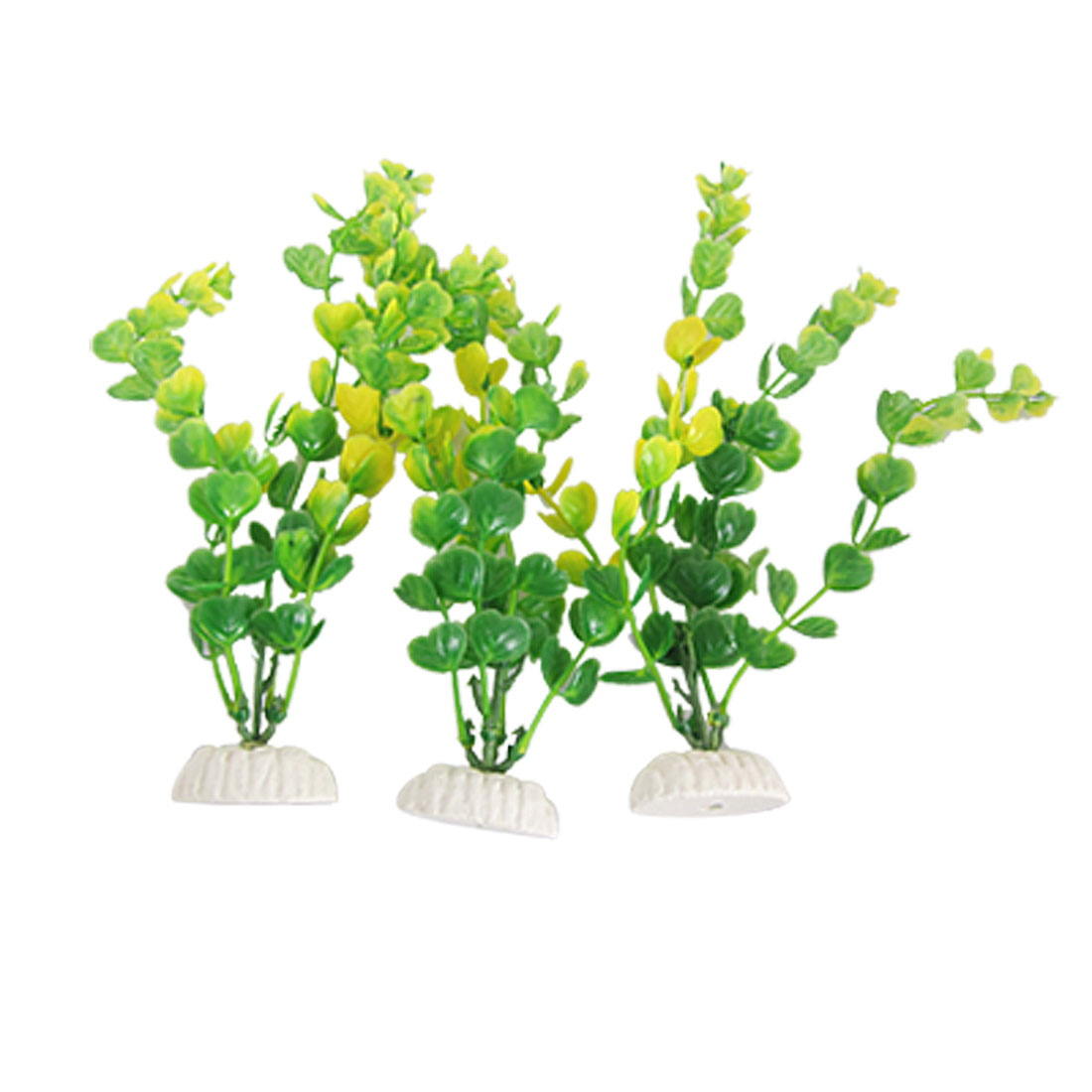 3Pcs Aquarium Lifelike Aquatic Plastic Plant Ornament Green Yellow