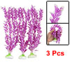 Fish Tank Aquascape Plastic Plant Decor Purple Wht 3Pcs