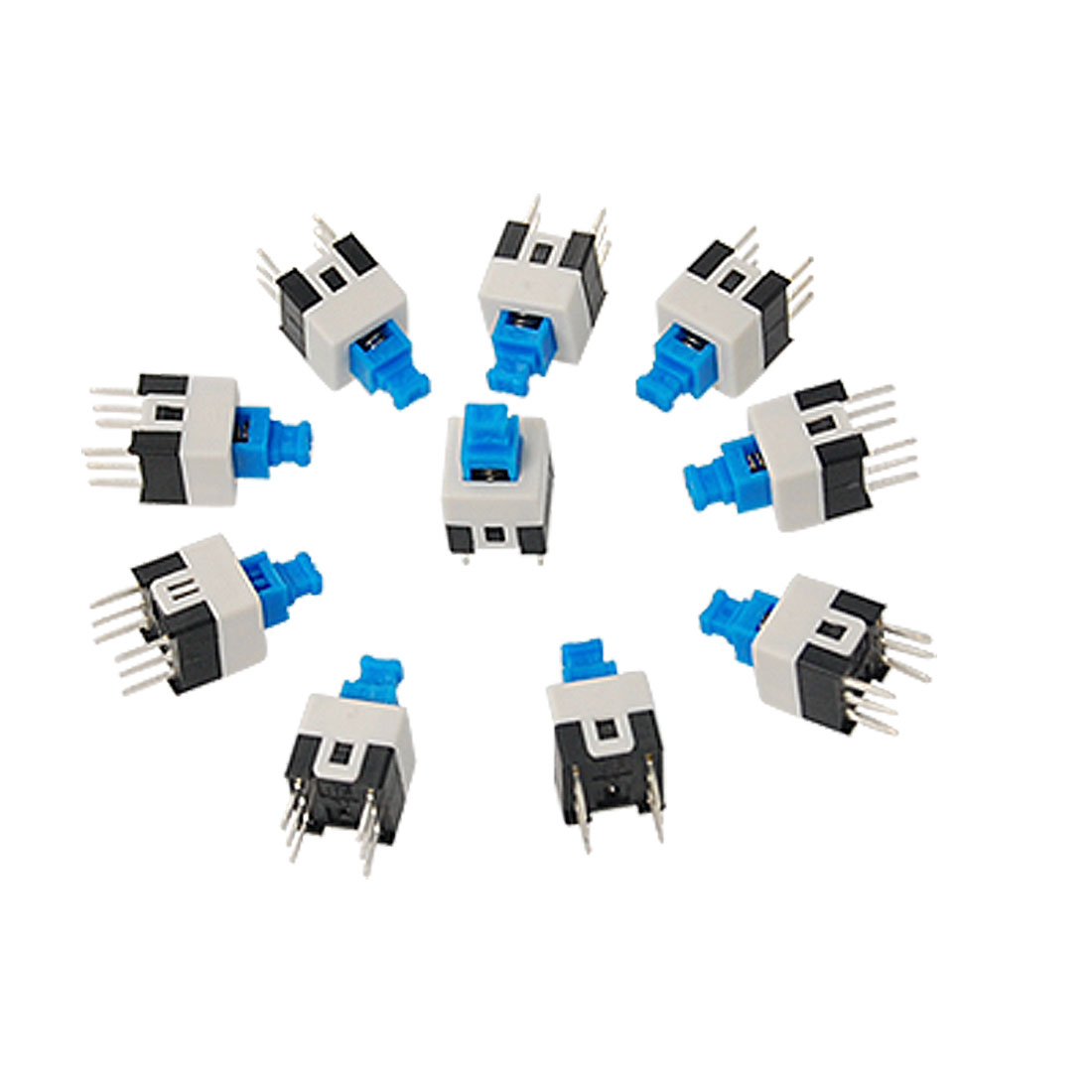 10 Pcs 7 x 7mm PCB Panel Mount Tact Tactile Push Button Switch Self Lock 6 Pin