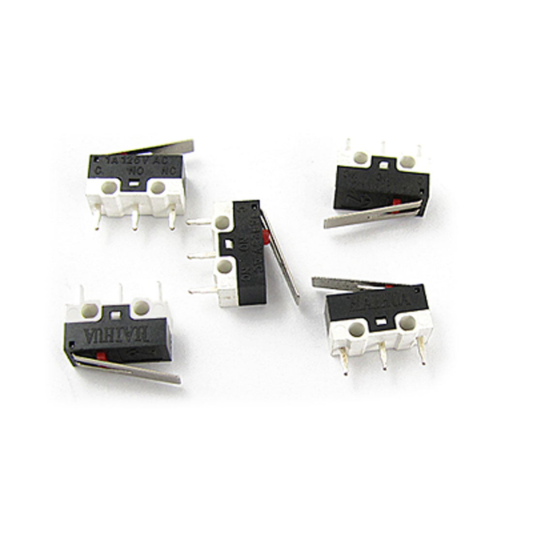 AC 125V 1A 1NO 1NC Mini Micro Switch w Lever 5 Pieces