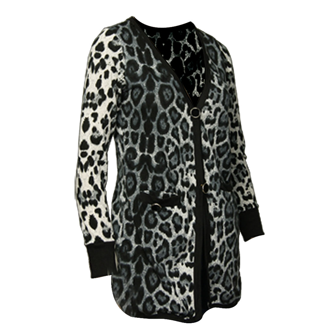 Lady One Button Closure Leopard Print Ribbed Trim Cardigan S