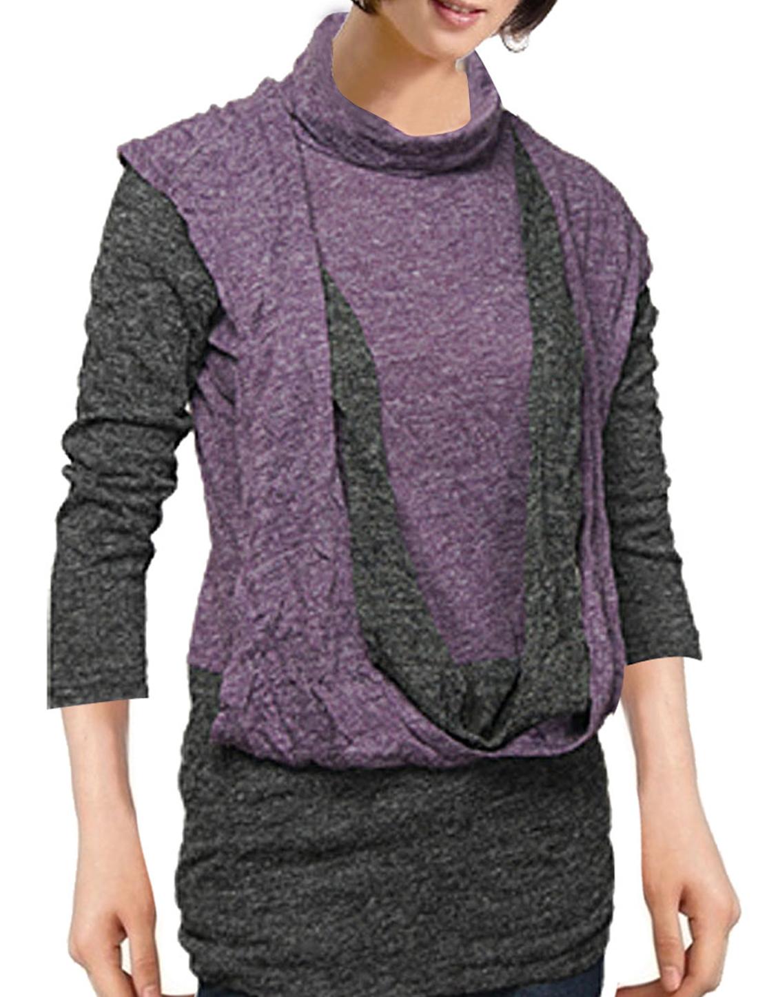 Lady 3/4 Sleeve Turtleneck Faux 2 Piece Purple Dark Gray Shirt XS