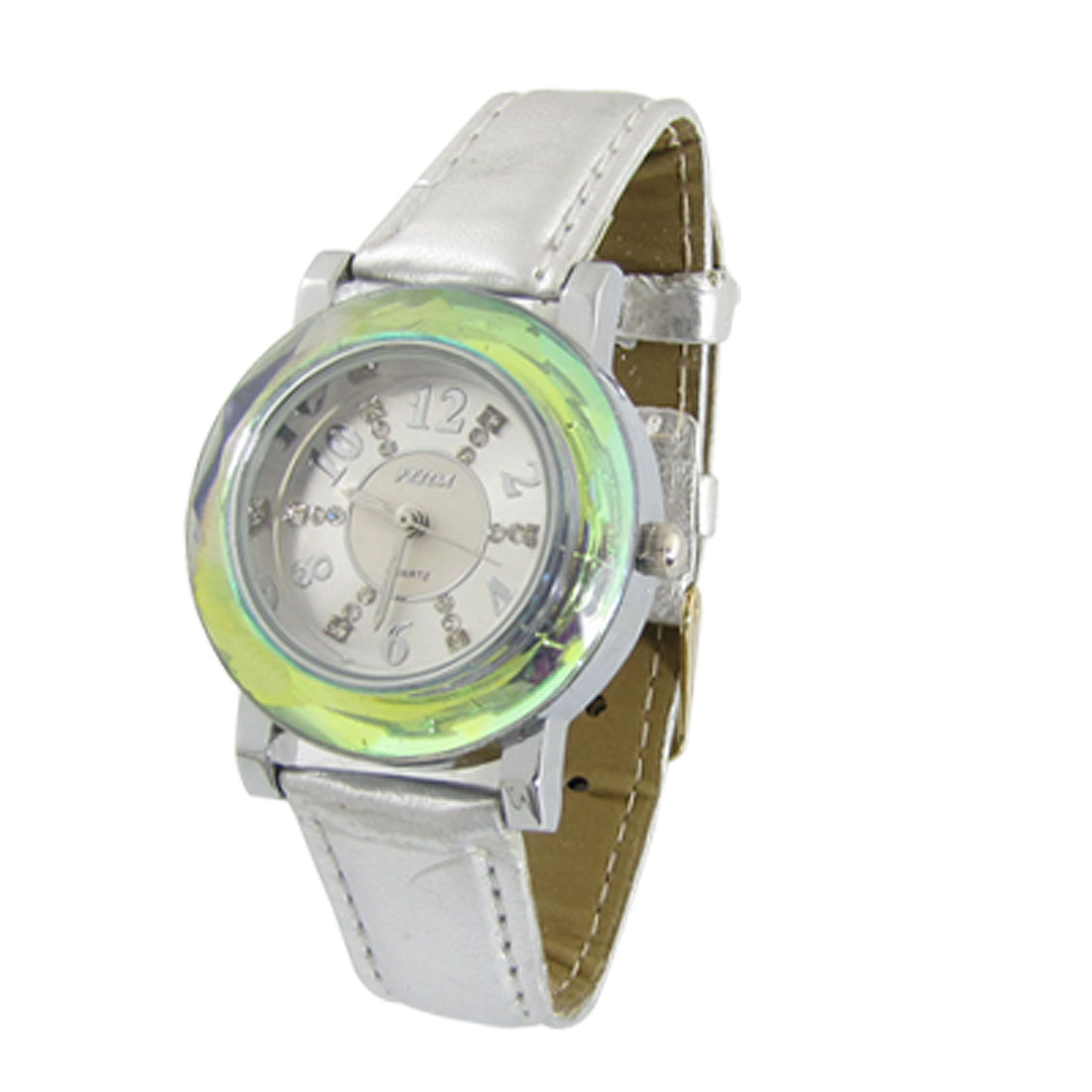 Silver Tone Faux Leather Band Round Dial Wrist Watch for Girls