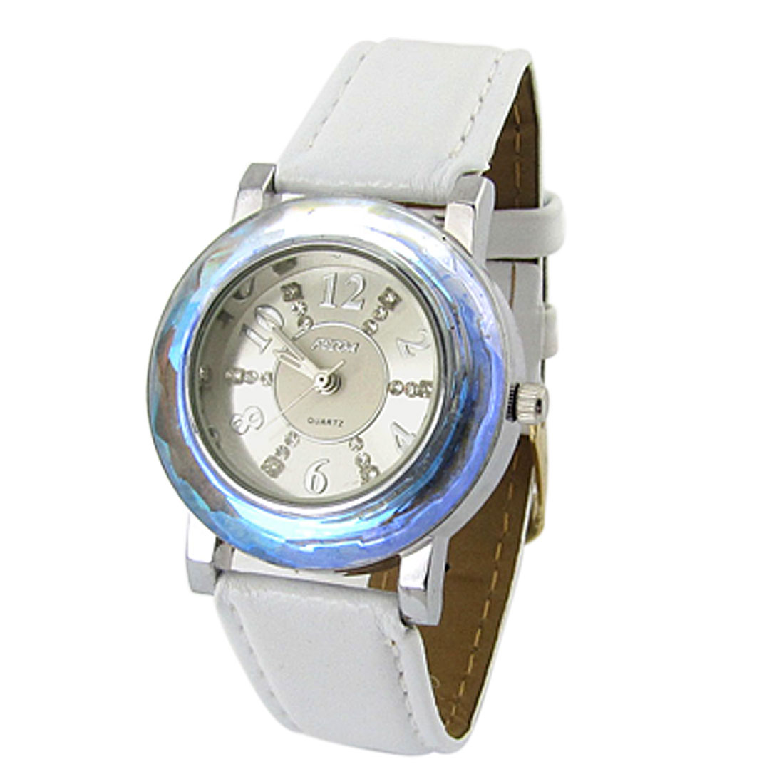 White Faux Leather Watchband Round Dial Wristwatch for Girls