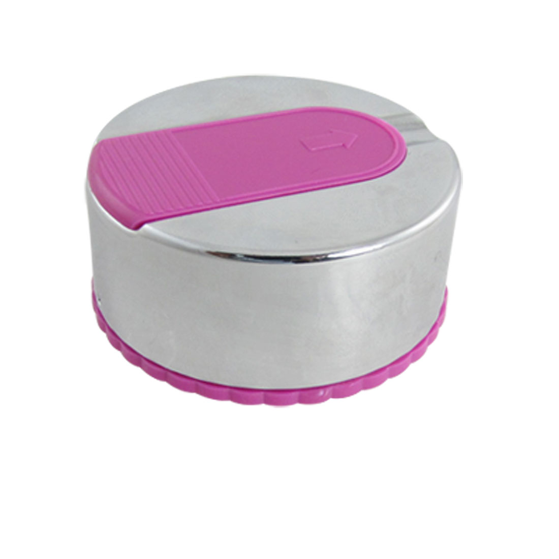 Home Office Silver Tone Fuchsia Round Alloy Cigarette Ashtray