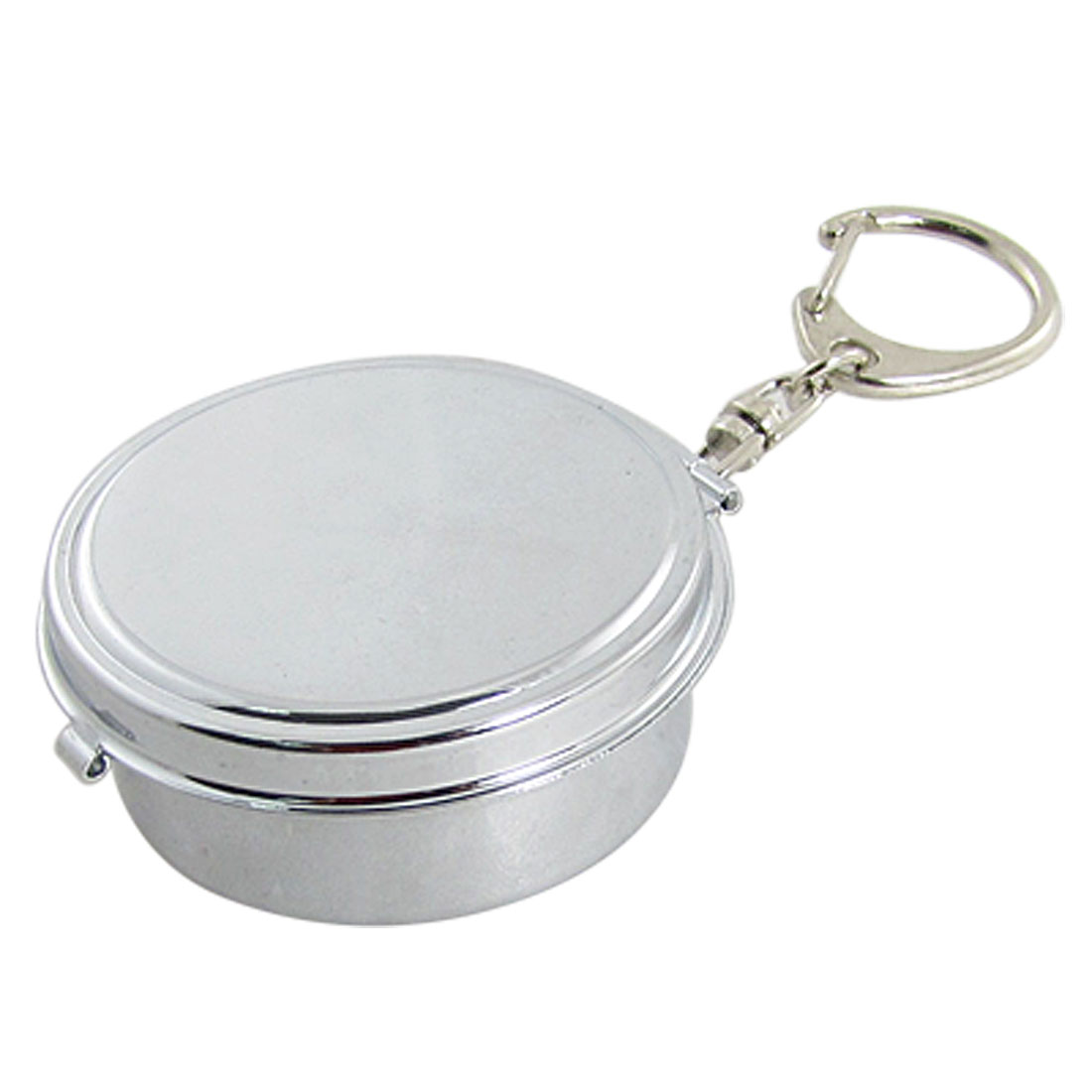 Silver Tone Portable Alloy Cigarette Ashtray w Key Chain