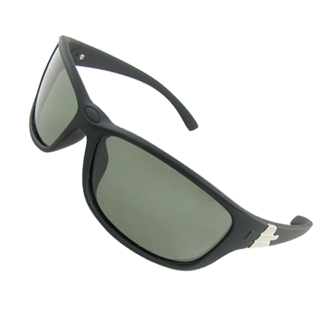 Lady Rectangle Lens Black Rubberized Plastic Frame Polarized Sunglasses