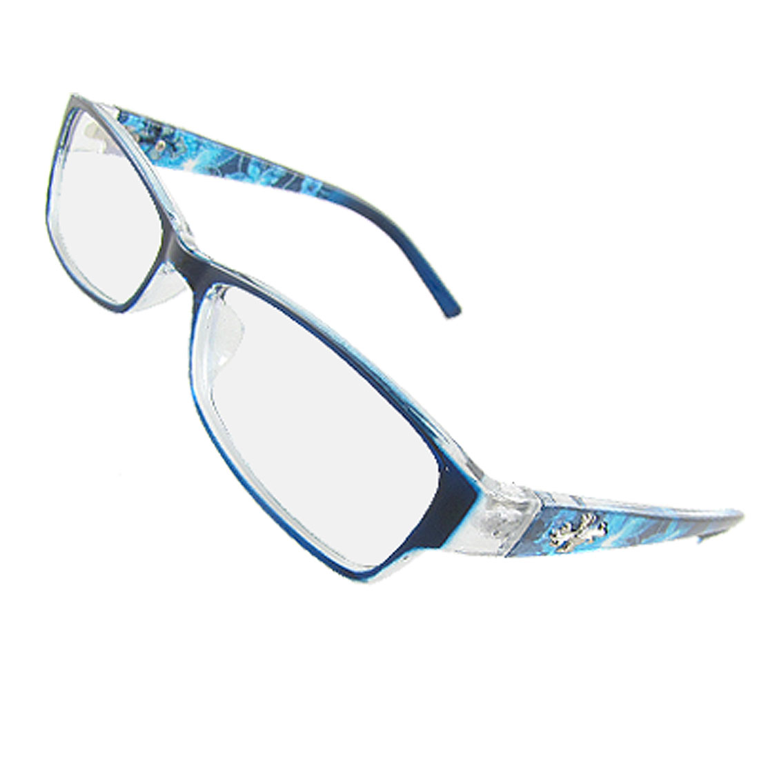 Ladies Cross Decor Blue Plastic Full Rim Multi Coated Lens Plano Glasses