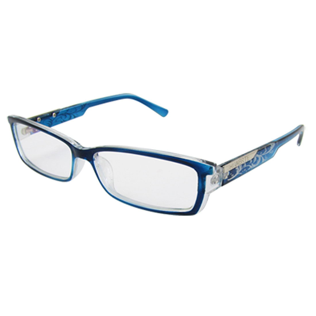 Lady Man Blue Frame Vines Patterned Plastic Arms Multi Coated Lens Plain Glasses
