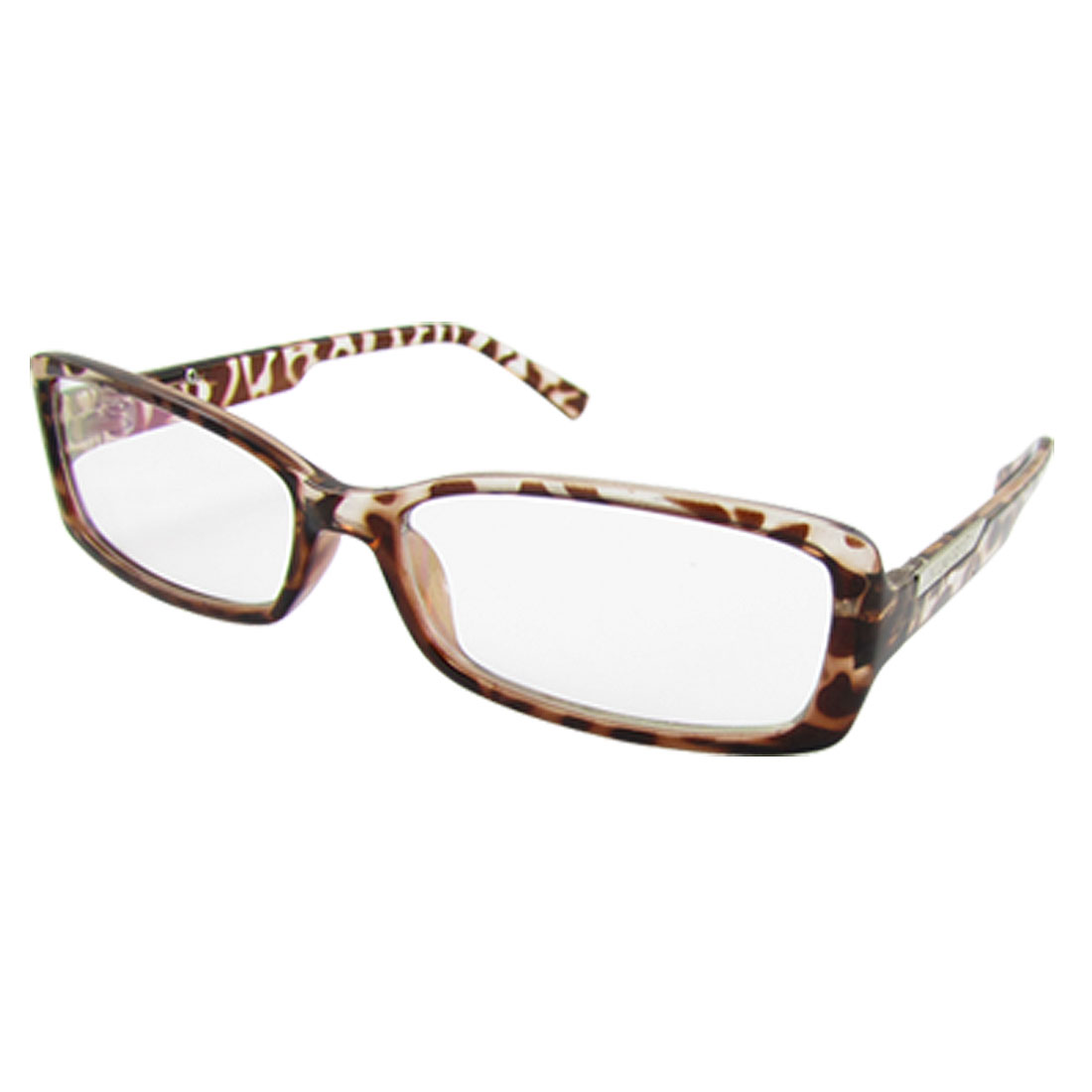Ladies Men Leopard Print Plastic Full Rim Multi Coated Lens Plain Glasses