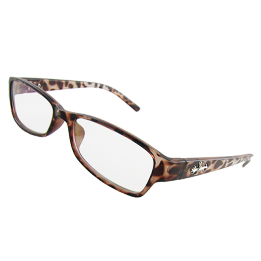 Ladies Brown Full Rim Giraffe Pattern Frame Multi Coated Lens Plano Glasses