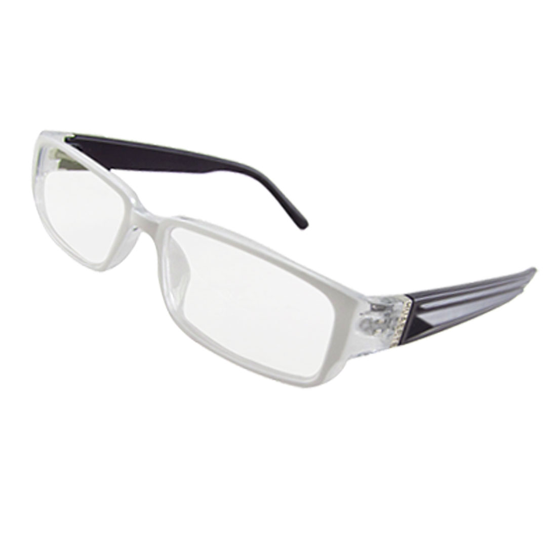 Ladies White Rectangle Multi Coated Lens Plastic Frame Plain Glassess