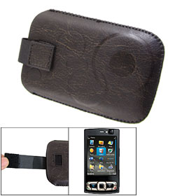 Coffee Flannel Lining Faux Leather Pouch Case for Nokia N95 8GB