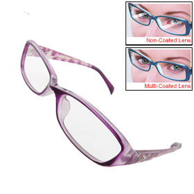Ladies Purple Plastic Full Rim Frame Multi Coated Lens Plain Glasses