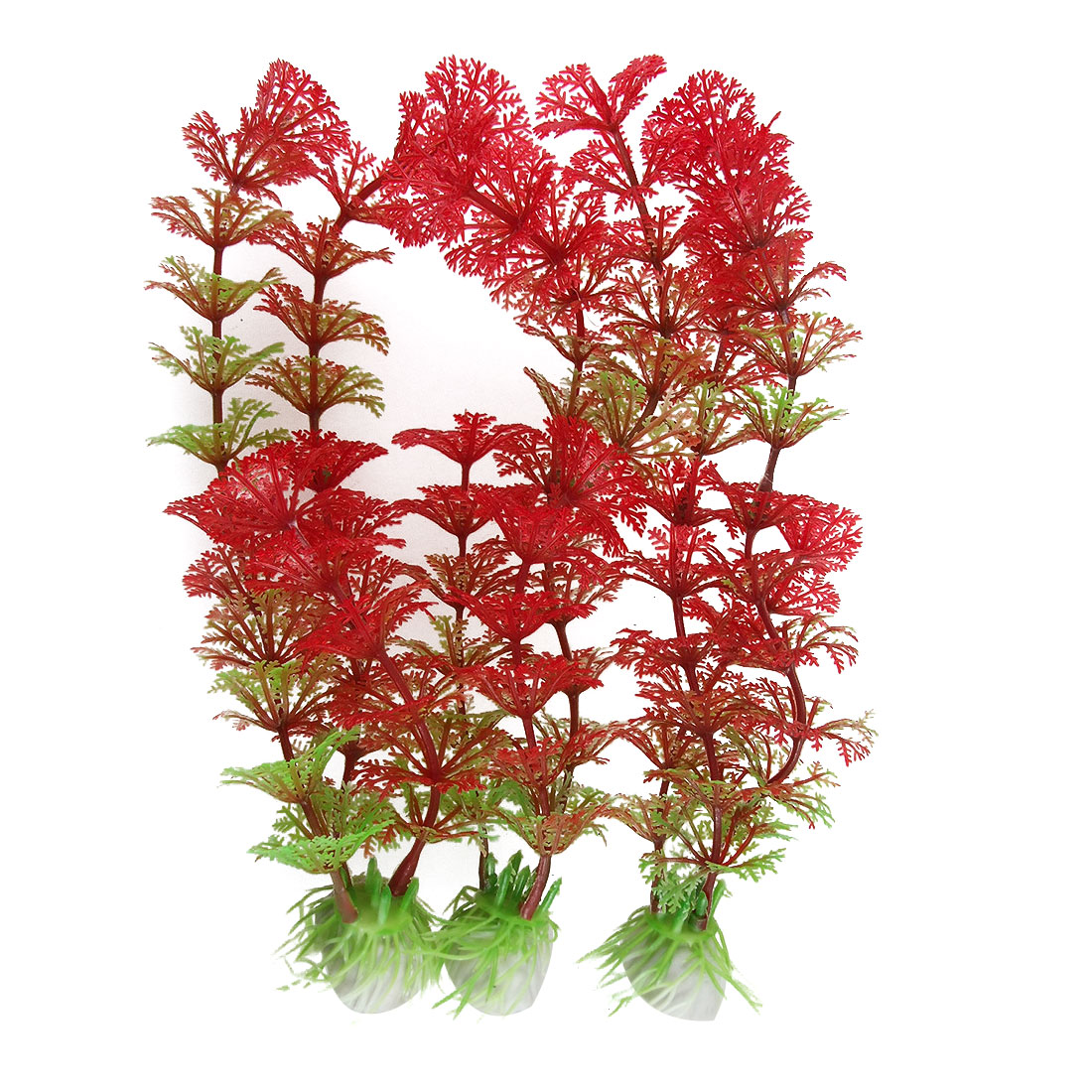 Red Green Plastic Hottonia Inflata Water Plants Aquarium Ornament 3Pcs