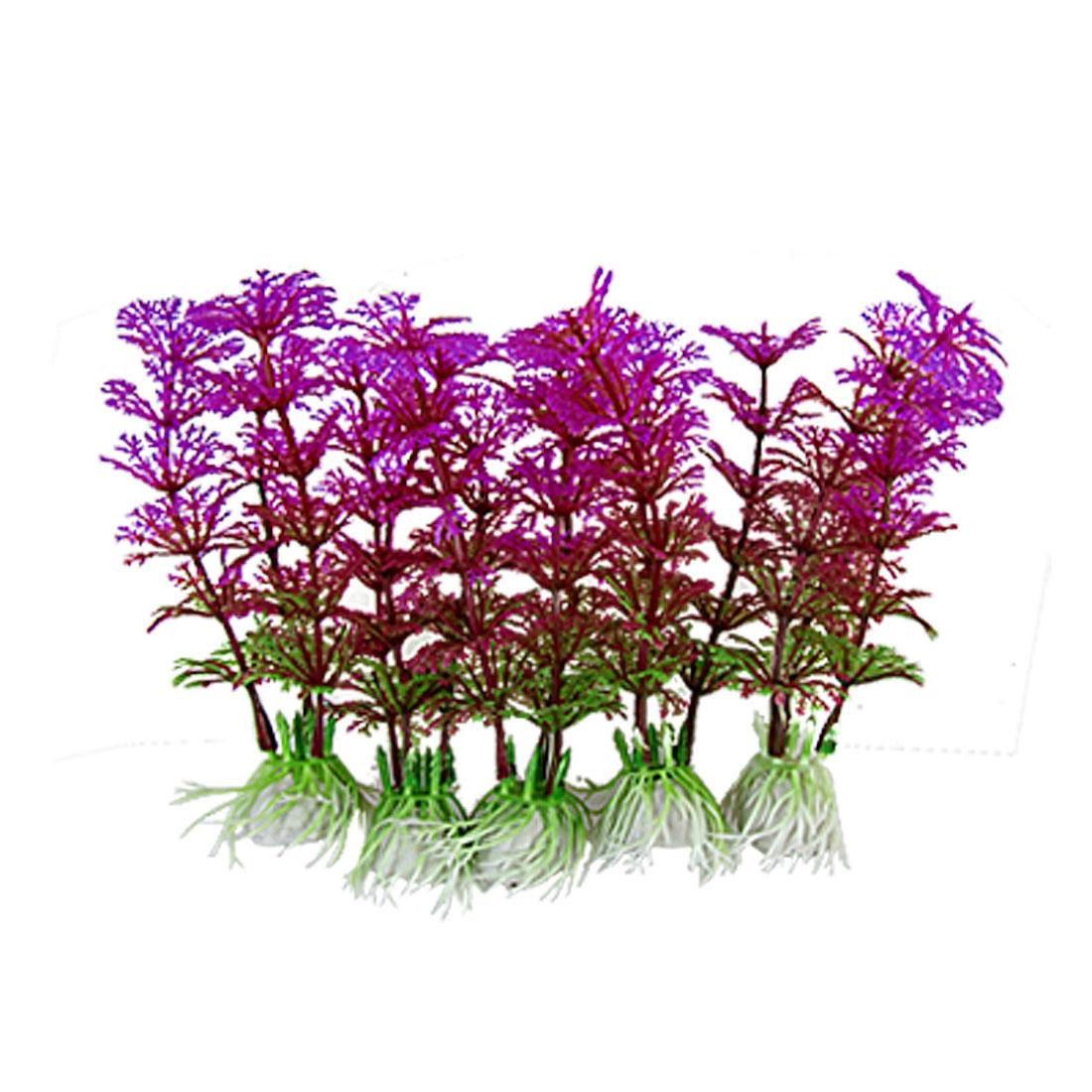 Purple Green Plastic Hottonia Inflata Plants Decor for Fish Tank 5Pcs