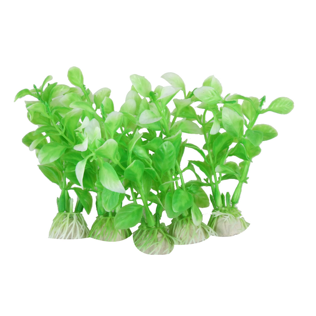 5Pcs Green Plastic Leaf Artificial Plants Decoration for Aquarium Fish Tank