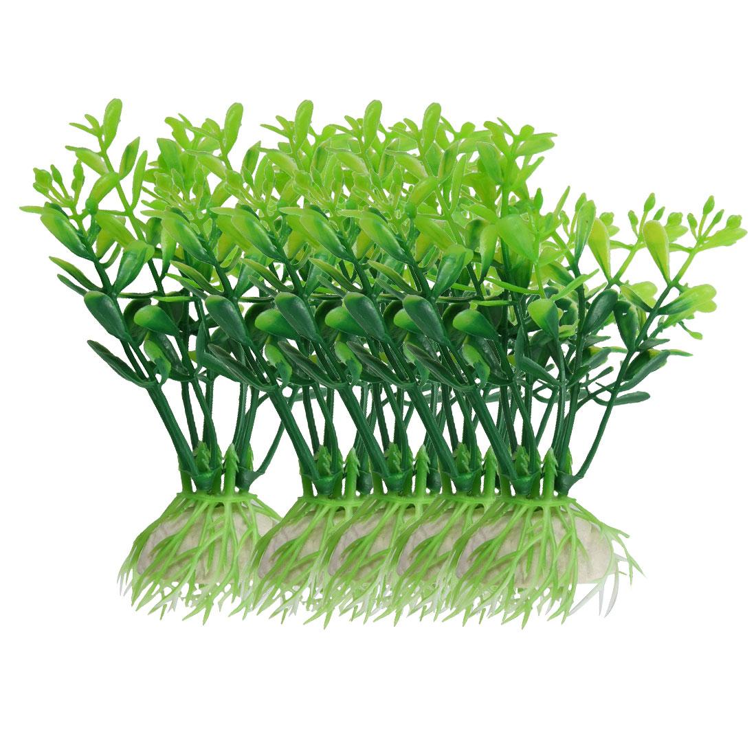 """5Pcs 3.7"""" Green Plastic Water Plants Ornament for Aquarium Fish Tank"""