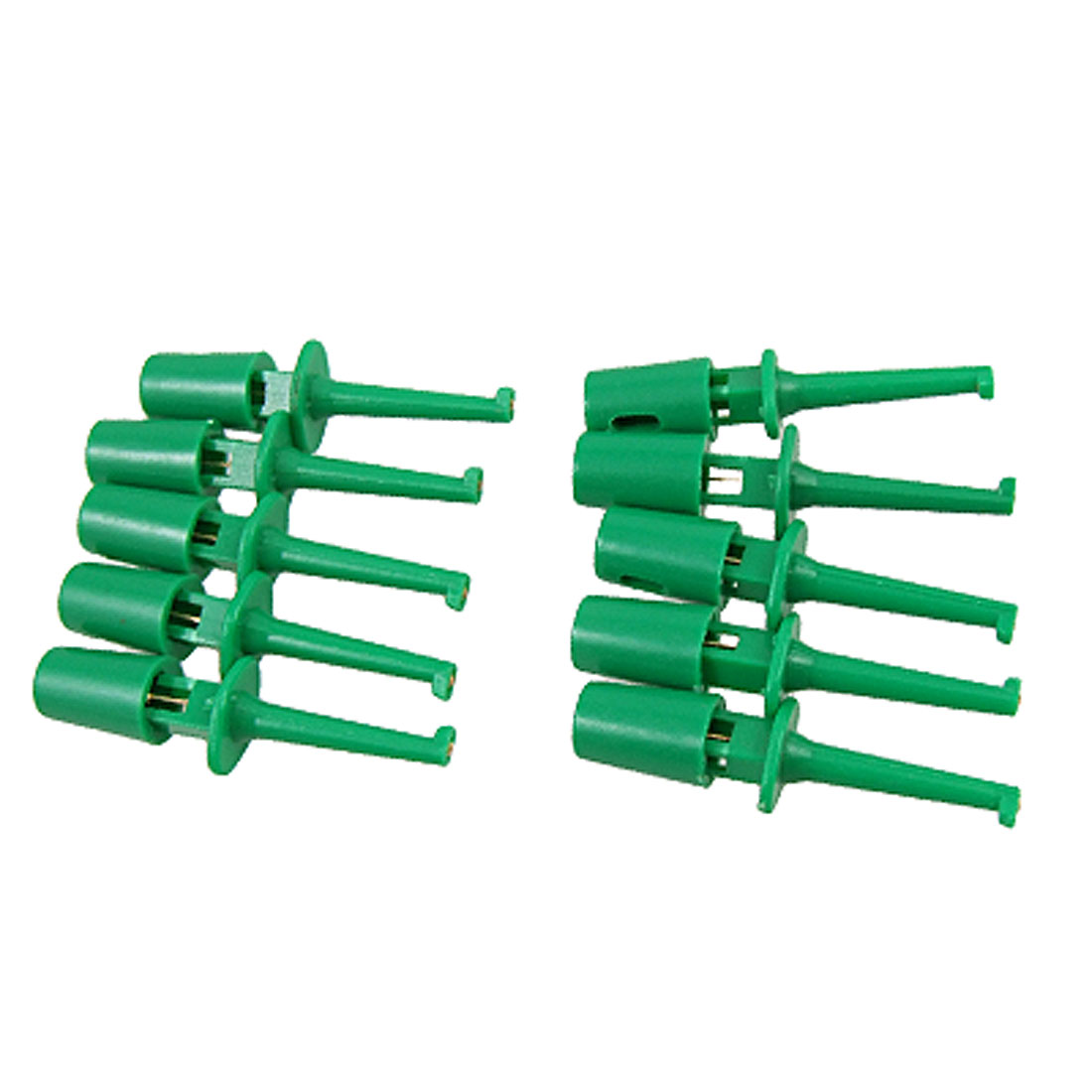 Green Electrical Lead Wire Testing Hooks Clip Set 10Pcs