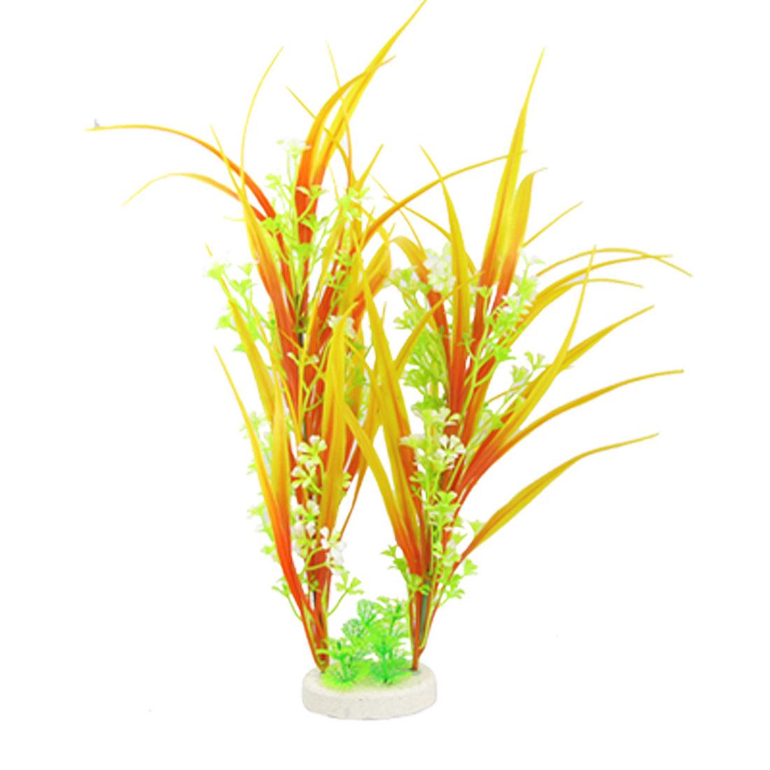 Orange Red Green Plastic Grass Flower Plants Fish Tank Ornament