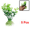 "5Pcs 3.7"" Green Plastic Water Plants Ornament for Aquarium Fish Tank"
