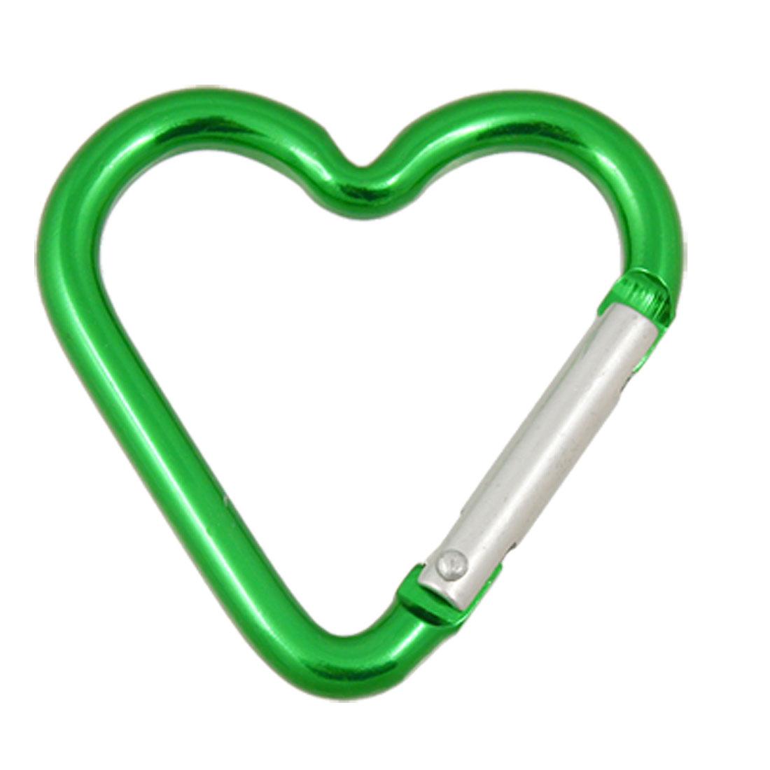 Aluminum Heart Shape Silver Tone Green Spring Gate Carabiner Hook