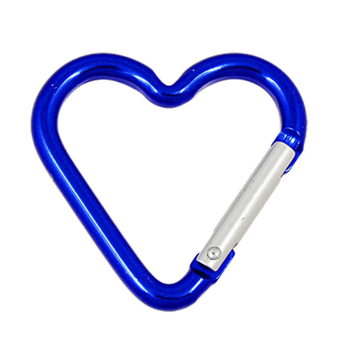 Aluminum Heart Shape Silver Tone Spring Loaded Gate Blue Carabiner Hook