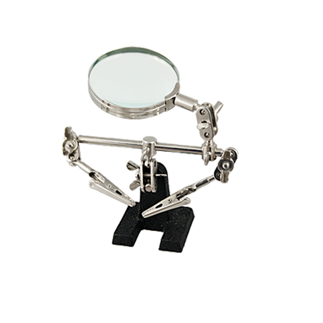 "Black Stand Rotary 2.5"" Lens Magnifying Glass w Alligator Clips"