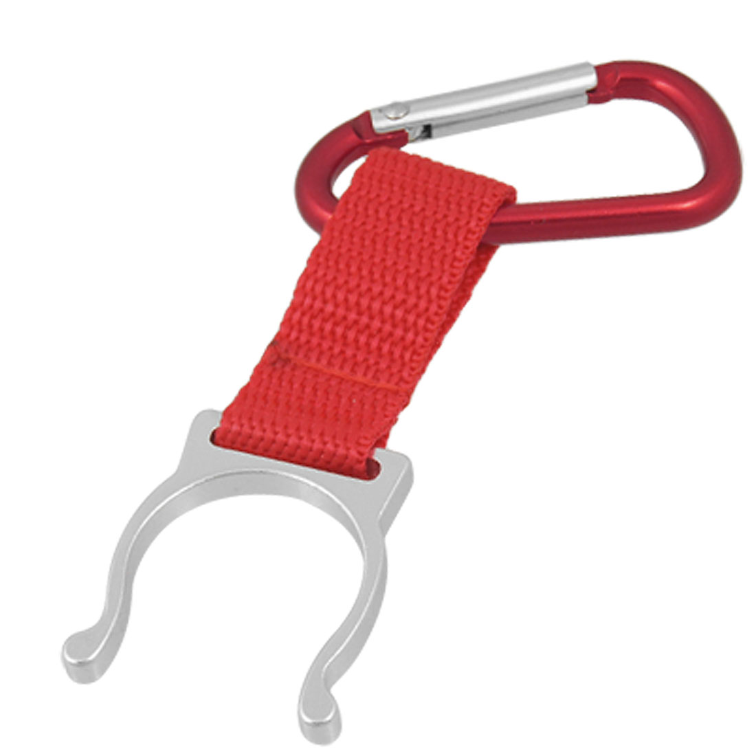 Red D Shape Aluminum Carabiner Hook w Silver Tone Bottle Holder Buckle