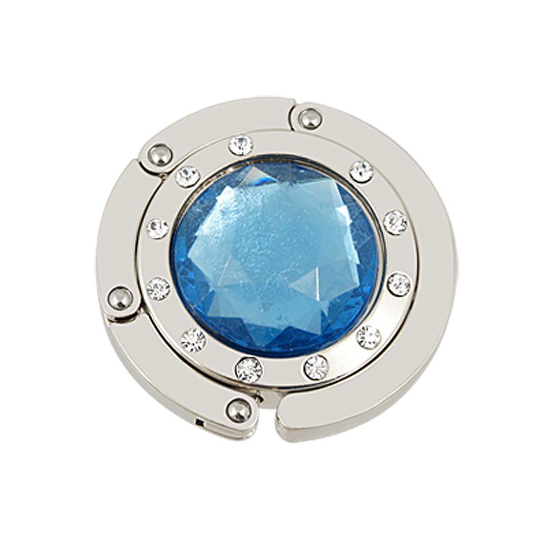 Blue Argyle Crystal Decor Folding Round Hanger Handbag Hook