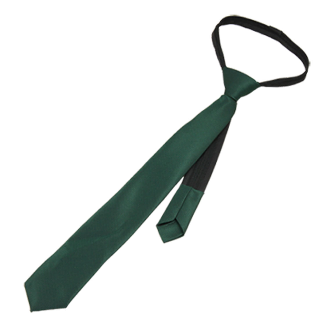 Pre Tied Zip Up Polyster Mini Check Pattern Green Children Necktie