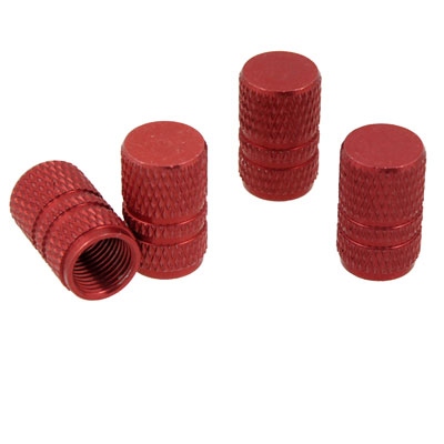 Car Vehicle Red Tire Valve Stem Textured Covers Alloy 4PCS