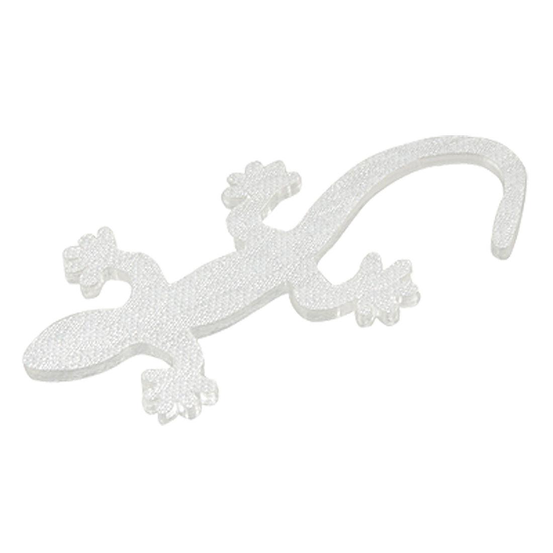 Car Gilltery Silver Tone Plastic Gecko Shape 3D Sticker