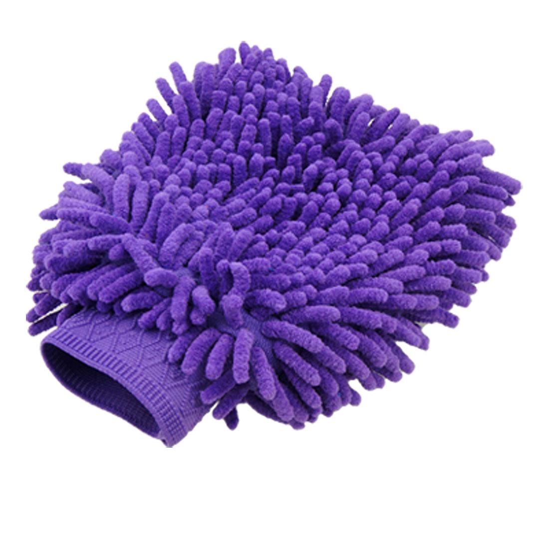 Coral Shape Elastic Cuff Purple Wash Glove Mitt for Auto Car