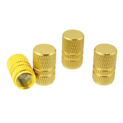 Gold Tone 4PCS Alloy Car Auto Tyre Tire Valve Stem Covers Caps