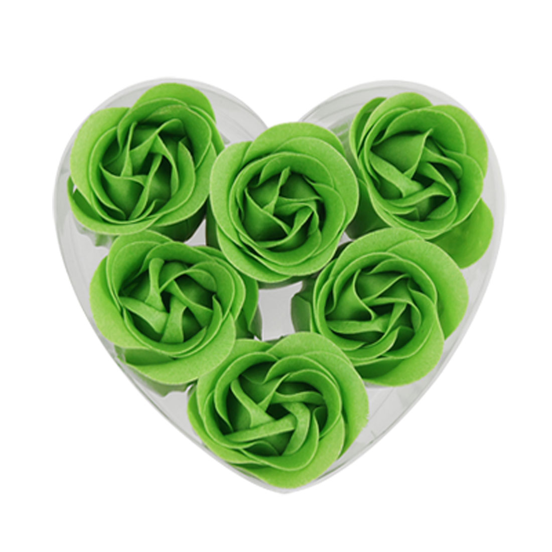 6Pcs Green Fancy Soap Paper Rose Flowers w Heart Shape Box Gift