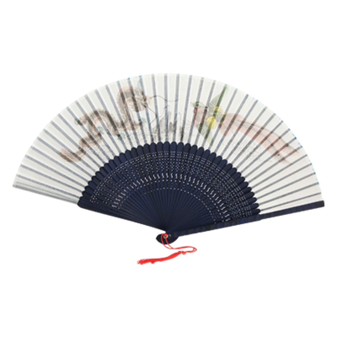 Dragon Phoenix Print Dark Blue Bamboo Fan w Embroidered Pouch