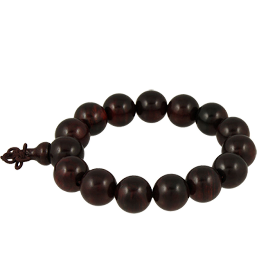 Brown Wood Made Round Beads Prayers Bracelet Ornament w Gourd Pendant