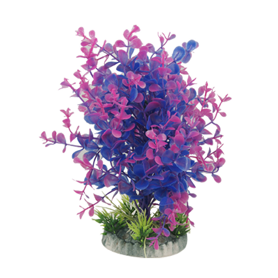 Fish Aquarium Purple Blue Grass Plant Decor w Base