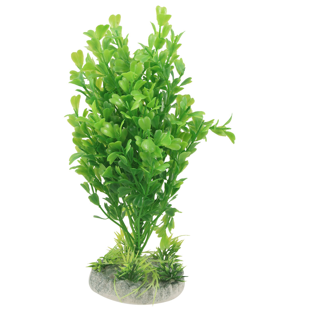 20cm Height Green Plastic Grass Plant Decor w Base for Aquarium