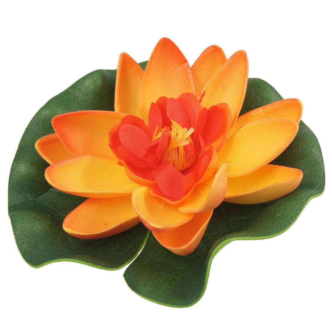 Small Size Foam Lotus Ornament Orange Green for Aquarium