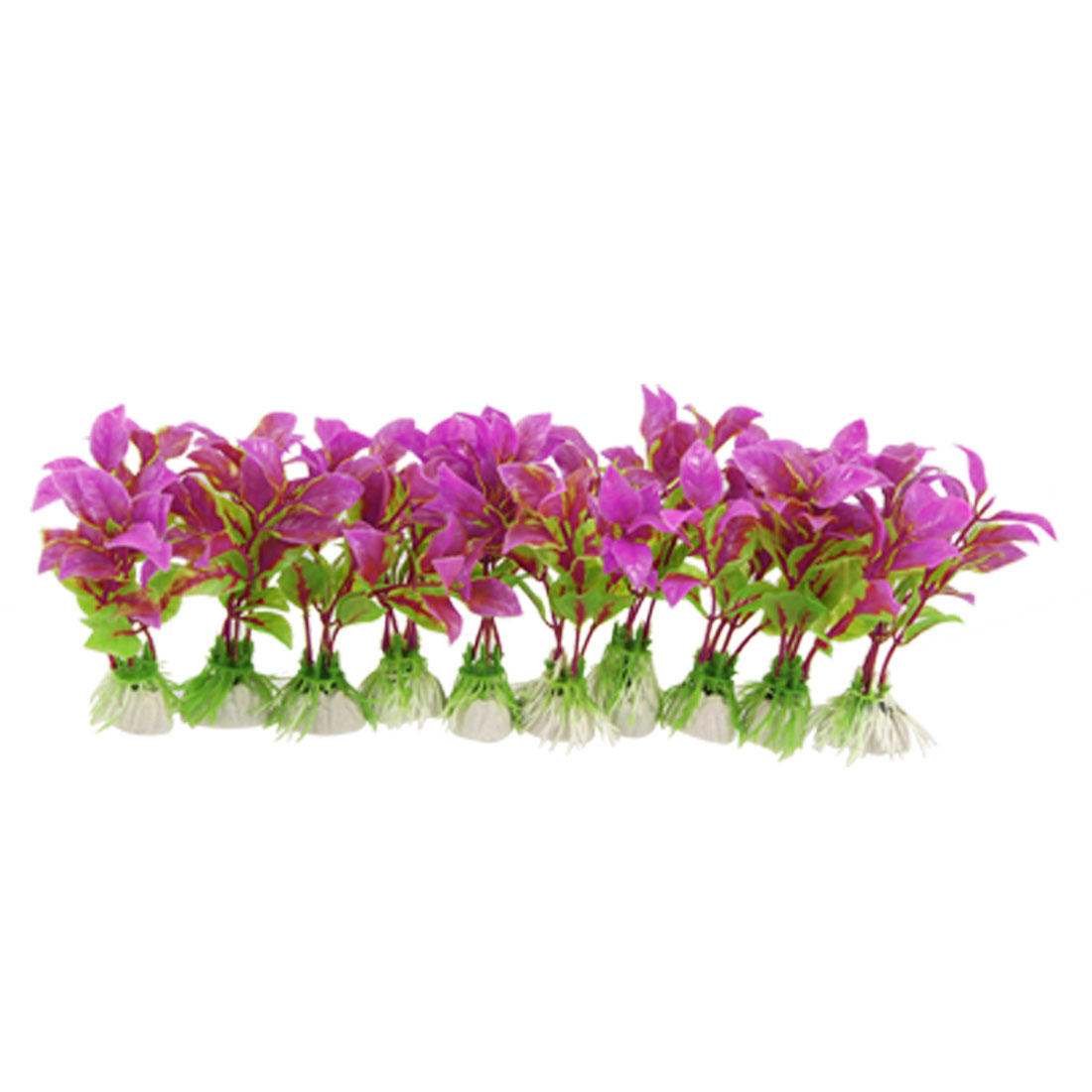 11cm Fuchsia Plastic Egg Shaped Leaf Plant Ornament for Aquarium