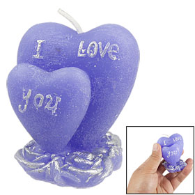 Indigo Blue Wax Double Heart Shape Candle Light Wedding Favor Gift