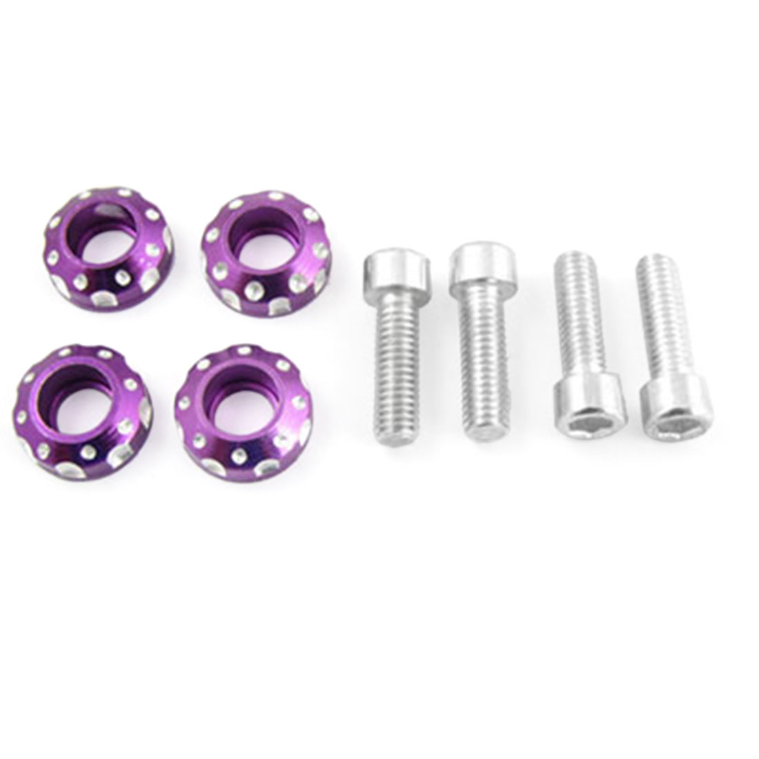 4PCS x Purple License Plate Bolt Screws Decoration
