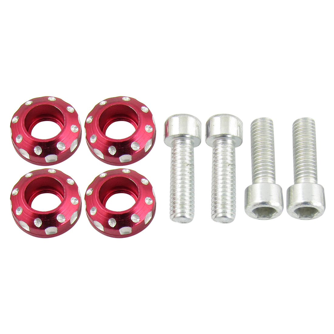 2Pairs x Car License Plate Bolts Screw Ornament Burgundy