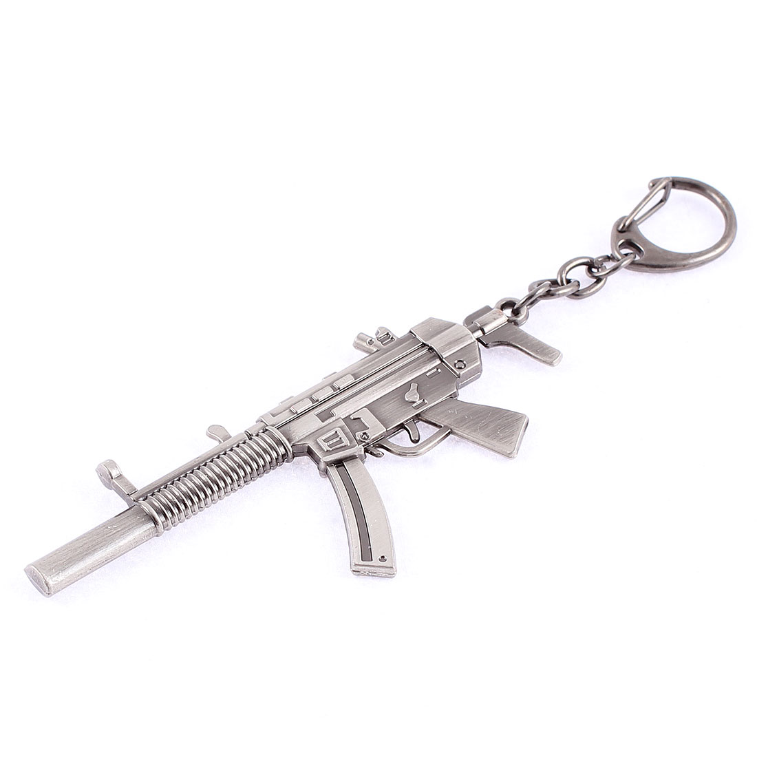 Flint Gray Metal MP5 Submachine Gun Design Keyring Pendant