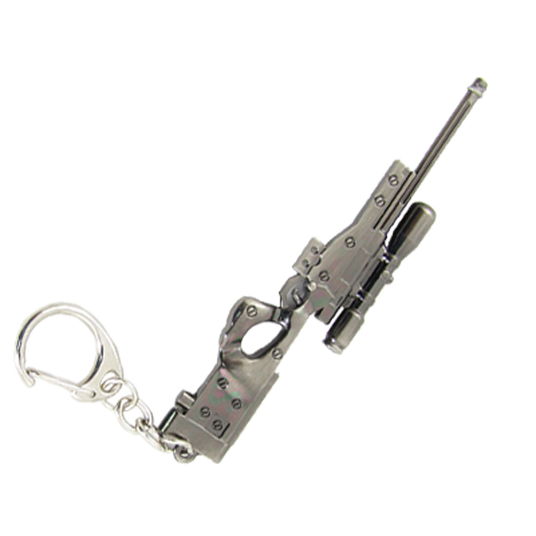 Flint Gray Metal Keyring Imitation Sniper Rifle Pendant