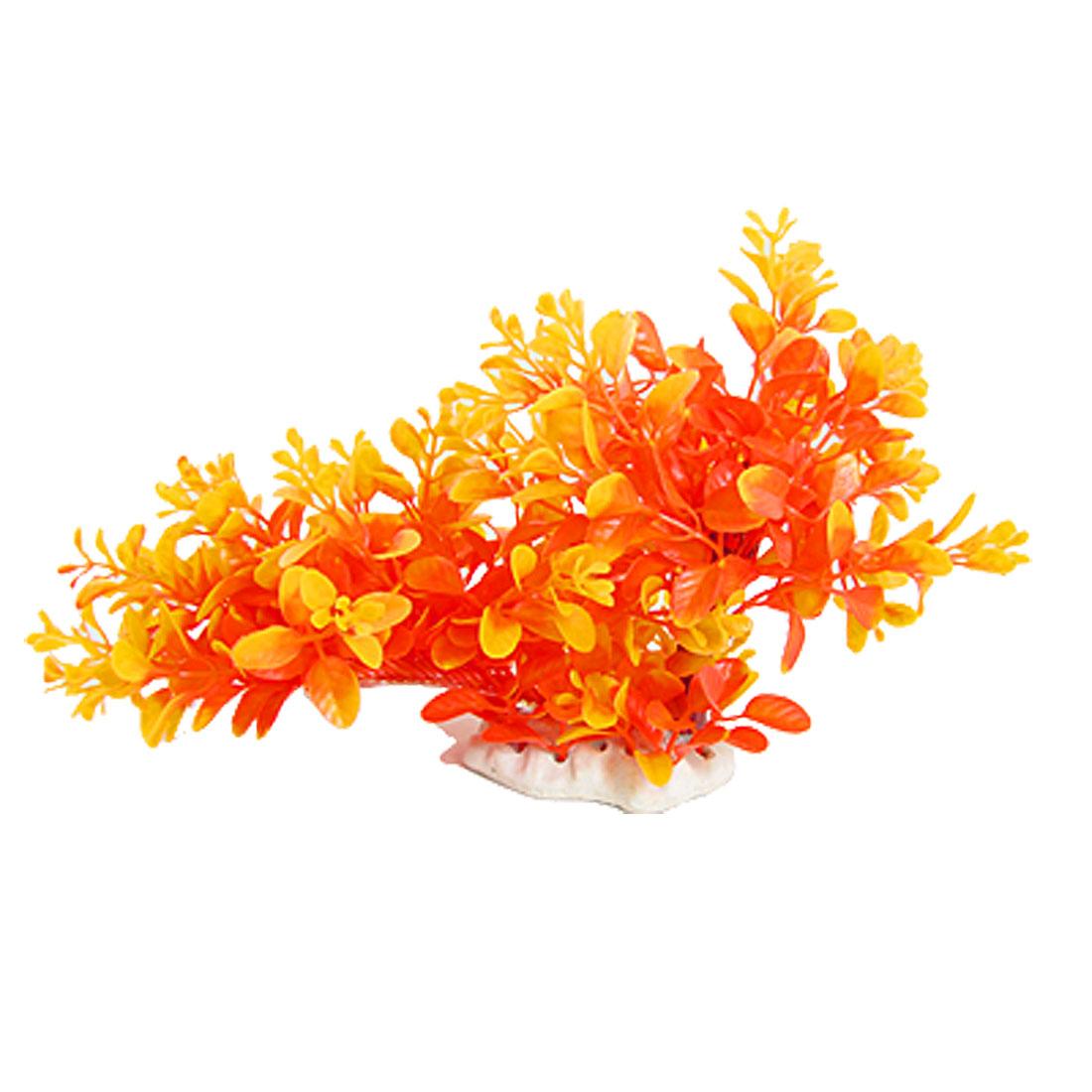 Ceramic Base Orange Yellow Plastic Plant Decor Fish Tank