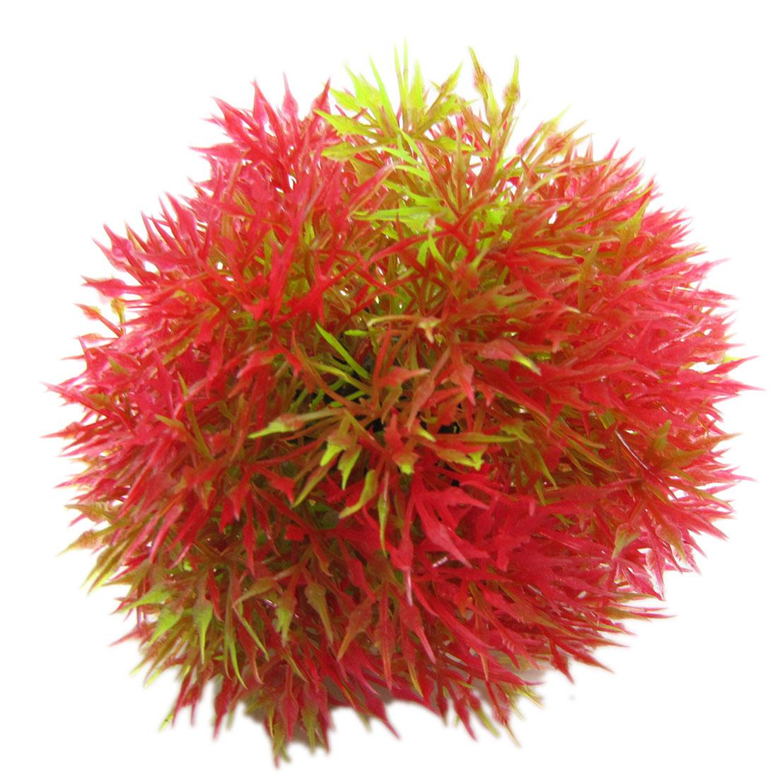 Decorative Fish Tank Ceramic Base Red Green Plastic Cactus